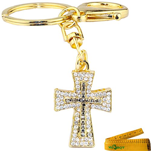 3D Cubic Cross Shape Stainless Alley Metal Bling Crystal Rhinestone Key Chain Ring Keychain Cell Phone Car Charm Decoration Pendant Ornament