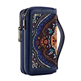 Double Zipper Wallets for Women Credit Card Organizer Lady Handbag with Handle for Cash, Cards, Coin and Cellphone (Blue)