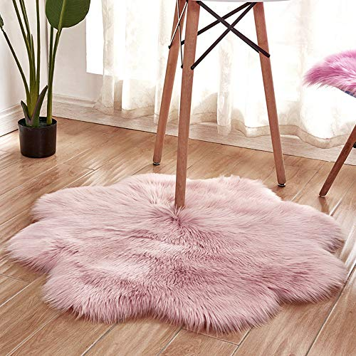 (Haihuic Super Soft Fluffy Faux Sheepskin Fur Rug, Shaggy Plush Area Rug, for Bedroom, Floor, Sofa, Living Room, Couch Bedside Rug 45x45 cm/ 1.5x1.5 Ft - Pink)
