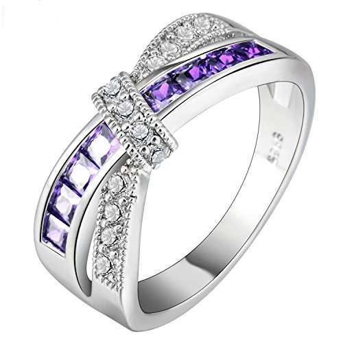Cross Finger Ring For Lady Paved Cz Zircon Luxury Hot Princess Women Wedding Engagement Ring Purple Pink Color Jewelry purple silver 8 (Lord Of The Rings The Third Age Xbox)