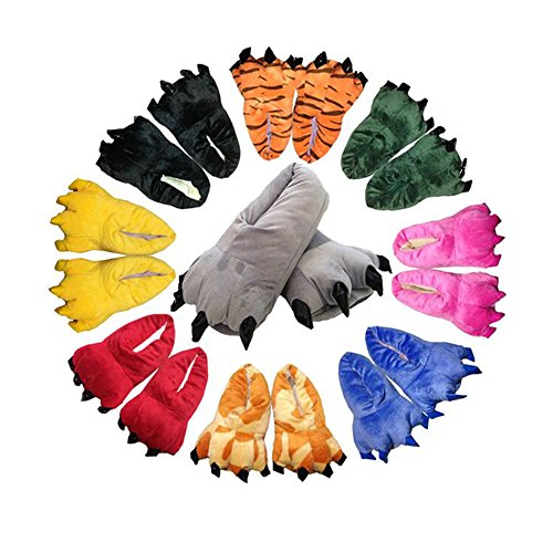 Home Color Female Soft Shoes Dinosaurs Cartoon Winter Flannel Plush Claws Eastlion Super 8 Slippers Warm xqOwvRn471