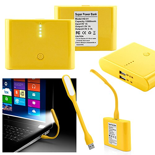 GEARONIC TM 12000mAh Universal Power Bank Backup External Battery Pack Portable USB Charger +Flexible USB Portable LED Light Mini Lamp- Yellow