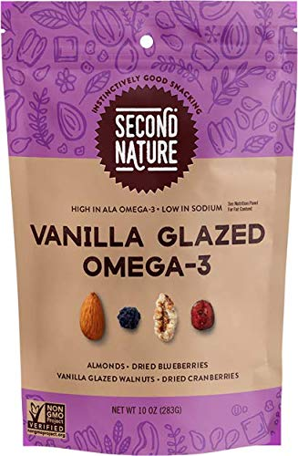 Second Nature Vanilla Glazed Omega-3 Trail Mix - Healthy Nuts Snack Blend - 10 oz Resealable Pouch