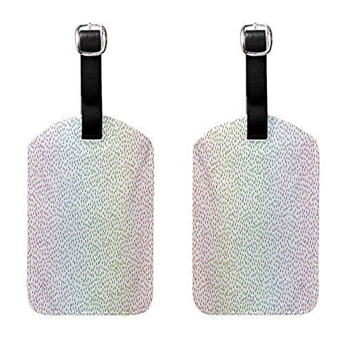 Luggage Tag with Full Privacy Colorful,Gradient Downpour Figure in Large Spectrum Spotted Little Liquids Wet Work of Art,Multicolor Leather Strap - Set of 2