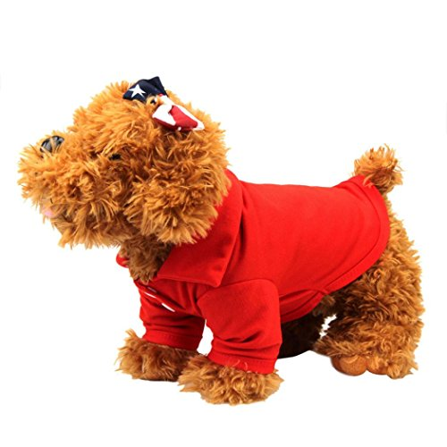 Outtop Pet Clothes, Small Dogs Warm POLO Coat Shirt Apparel Costume Accessory for Dog Dachshund, Poodle, Pug, Chihuahua, Shih Tzu, Yorkshire Terriers, Papillon (S, Red)