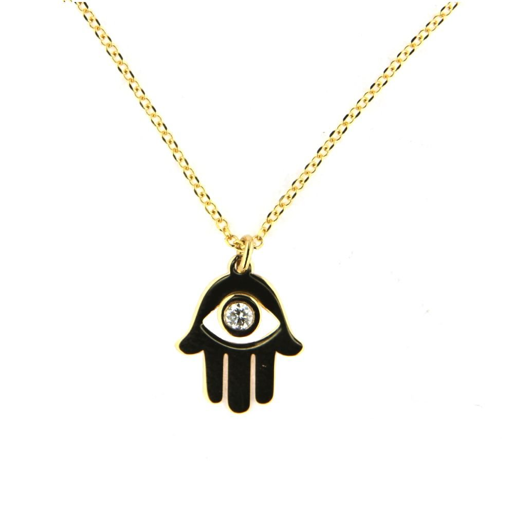 18K Yellow Gold Diamond Eye Hamsa Hand Necklace 16 Inches with extra ring at 15 inches .Diamond Total weight 0.02.