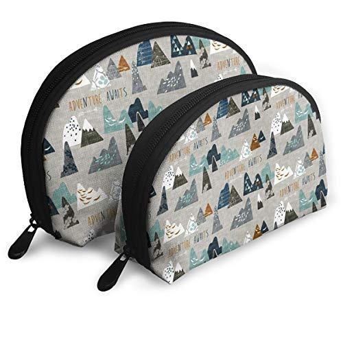 Adventure Awaits (Earth) nouveau Bohemian Cosmetic Bag - 2 Piece Set Makeup Travel Pencil Pen Case Storage Portable (Nouveau Zip Back)
