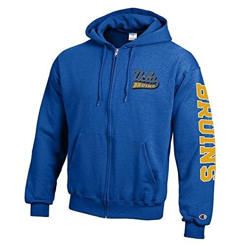 Bruins Ucla University (Elite Fan Shop UCLA Bruins Full Zip Hooded Sweatshirt Letterman Blue - L)
