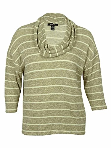 Style & Co . 3/4 Sleeve Cardigan - Style & Co. Womens Plus Metallic Striped Pullover Sweater Ivory 1X