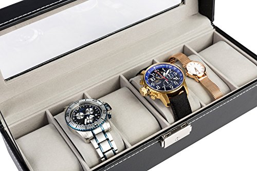 Soufull-Watch-Box-Glass-Top-Jewelry-Case-Organizer-with-Metal-Lock-and-Key