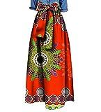 Highisa Women Waist Bowtie African Print Big Pendulum Casual Long Skirt 4 M