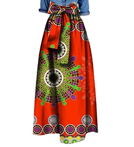 Highisa Women Waist Bowtie African Print Big Pendulum Casual Long Skirt 4 M by Highisa