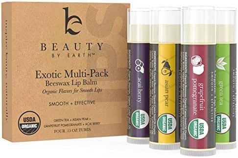 Beauty by Earth Exotic Organic Multi-Pack Beewax Lip Balm with Aloe Vera and Vitamin E, 4 Pack (Green Tea, Asian Pear, Pomegranate and Acai Berry)