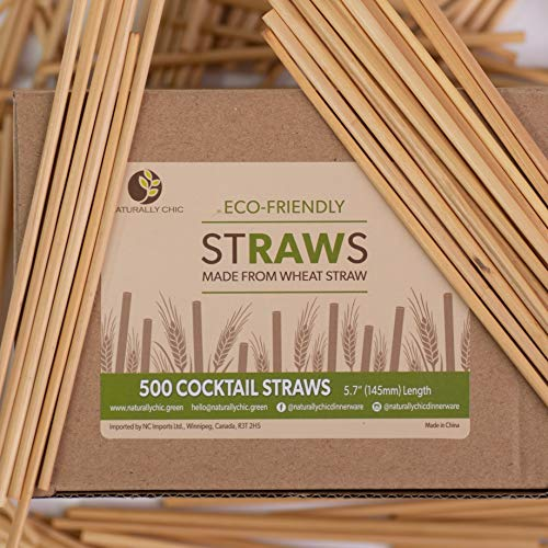 Naturally Chic Biodegradable Wheat Straws | 5.75 Inch Short Drinking Straws Made of Wheat Hay (Gluten Free) - Eco-Friendly - Coffee, Restaurant, Cocktail, Party Bulk Straws - (1000 Pack)