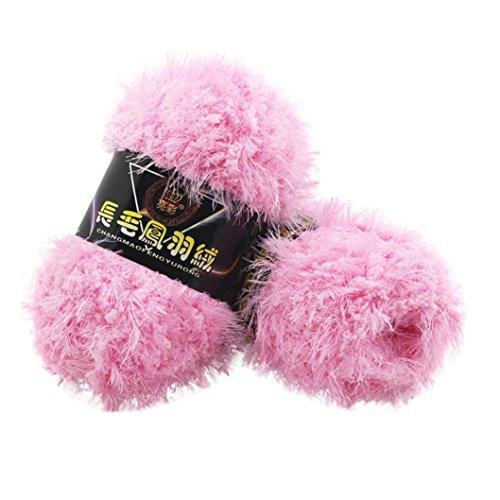 (Sacow Fluffy Eyelash Yarn, Velvet Knitting Yarn Multicolor Feather Down Hand-woven Yarn Crochet Coral Cashmere Yarn (D))