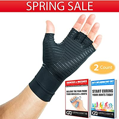 Compression Gloves Infused With Copper | Arthritis | Rheumatoid | Carpal Tunnel | Sports | Muscle & Joint Pain | Men and Women (Unisex)