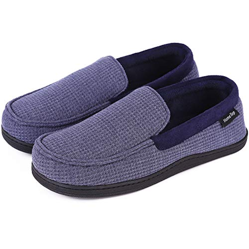 (Men's Comfort Memory Foam Moccasin Slippers Breathable Cotton Knit Terry Cloth House Shoes (8 D(M) US, Demin Blue))