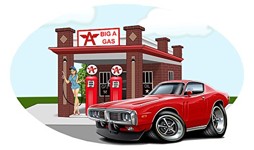 Classic Car 1973 Charger Big A Gas Station Wall Decal Vinyl Mural RED 12