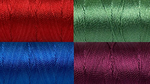 Polyester Embroidery Thread Set (Jewel Tones) Size 12 3ply thread 4 x 25gr Spools ()