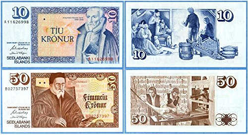 IS 1961 BOLD UNIQUE ANTIQUE ICELAND BANKNOTES in FLAWLESS CONDITION BOTH FOR JUST 6.99 EACH Gem Uncirculated
