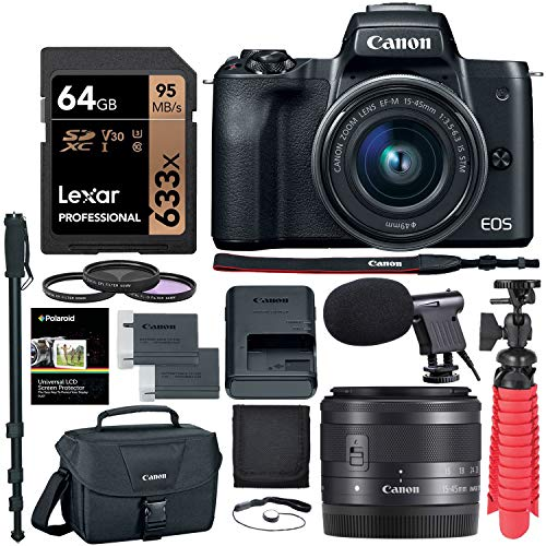 Canon EOS M50 15-45mm f/3.5-6.3 is STM Mirrorless Digital Camera, 64gb Memory Card, Camera Bag & Accessory Bundle