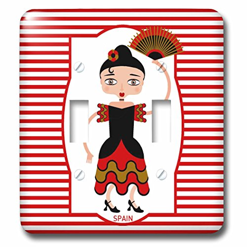 3dRose lsp_160621_2 Spain is Represented by A Flamenco Dancer, Flamenco is Spanish Popular Folk Music Double Toggle Switch by 3dRose