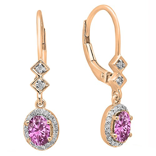6x4mm Oval Pink Sapphire Earring - 5