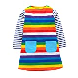 SO-buts Fashion Rainbow Colorful Girls Dress Kid Long Sleeve Casual Dress Winter Clothes (Multicolor, 5-6 years old)