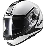 LS2 Helmets Strobe Civik Modular Motorcycle Helmet with Sunshield (White, X-Small)