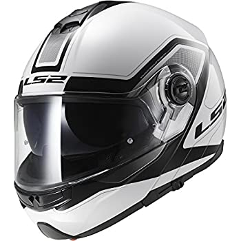 LS2 Helmets Strobe Civik Modular Motorcycle Helmet with Sunshield (White, X-Large)