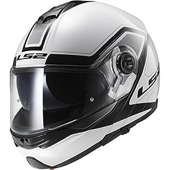 LS2 Helmets Strobe Civik Modular Motorcycle Helmet with Sunshield (White, X-Large)