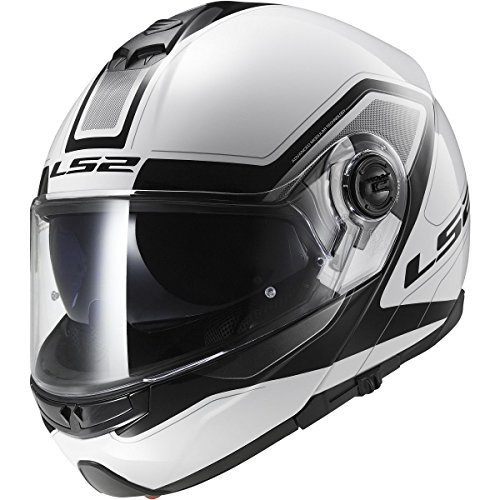 LS2 Helmets Strobe Civik Modular Motorcycle Helmet with Sunshield (White, X-Large) ()