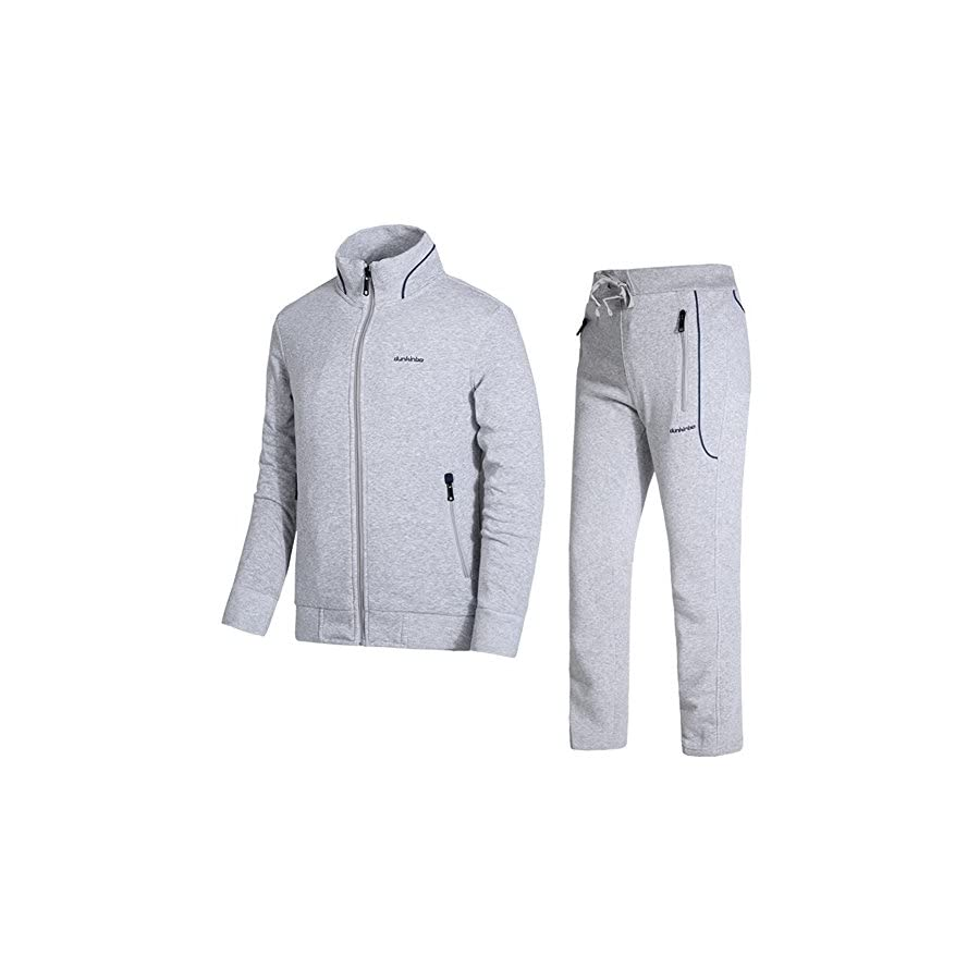 DUNKINBO Men's Athletic Tracksuit Full Zip Warm Jogging Sweat Suits