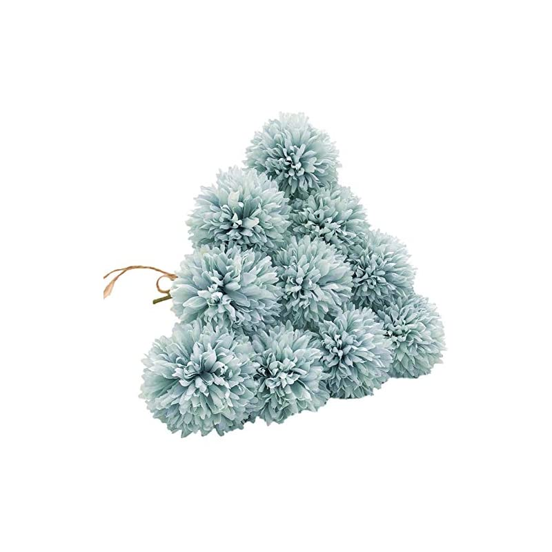 silk flower arrangements shine-co lighting artificial chrysanthemum ball flowers hydrangea bouquet 10pcs present for important people glorious moral for home office coffee house parties and wedding (light blue)