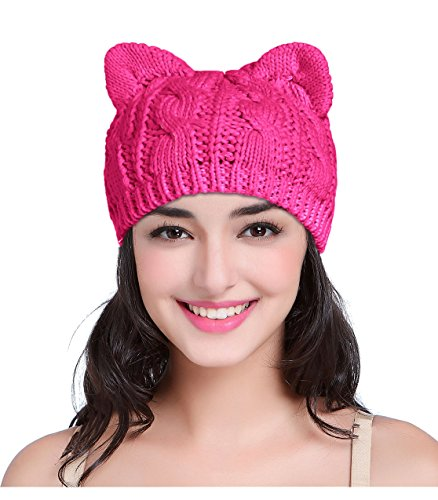 v28 Hand Made Fashion Women Boy Girl Crochet Knit Winter Cat Ear Caps Xmas Hats (Medium, Cat Ear Rose)]()