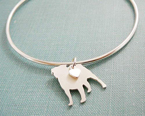 (.925 Sterling Silver Pug Dog charm Bangle Bracelet Pet Memorial Jewelry)