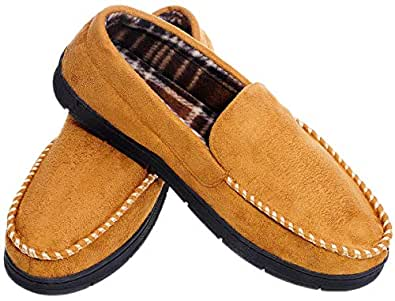 MIXIN Men's Moccasins Slippers Comfy Warm Rubber Sole Slip-on Memory Foam Cushions Indoor Outdoor Driving Shoes Light Brown Size 8-9 US 7.5-8.5 UK