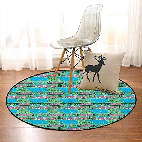 Kids Car Race Track Roadway Activity Multifunctional Round Carpet Modern Waterfront City View Drawing in Lively Colors for Bedroom Modern Home Decor D59 Inch Multicolor ()