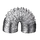 Shappy 4 Inch by 8 Feet Vent Ducting Hose Flexible Aluminum Ventilation Tube Ducting Pipe Dryer Vent Duct Hose, Silver