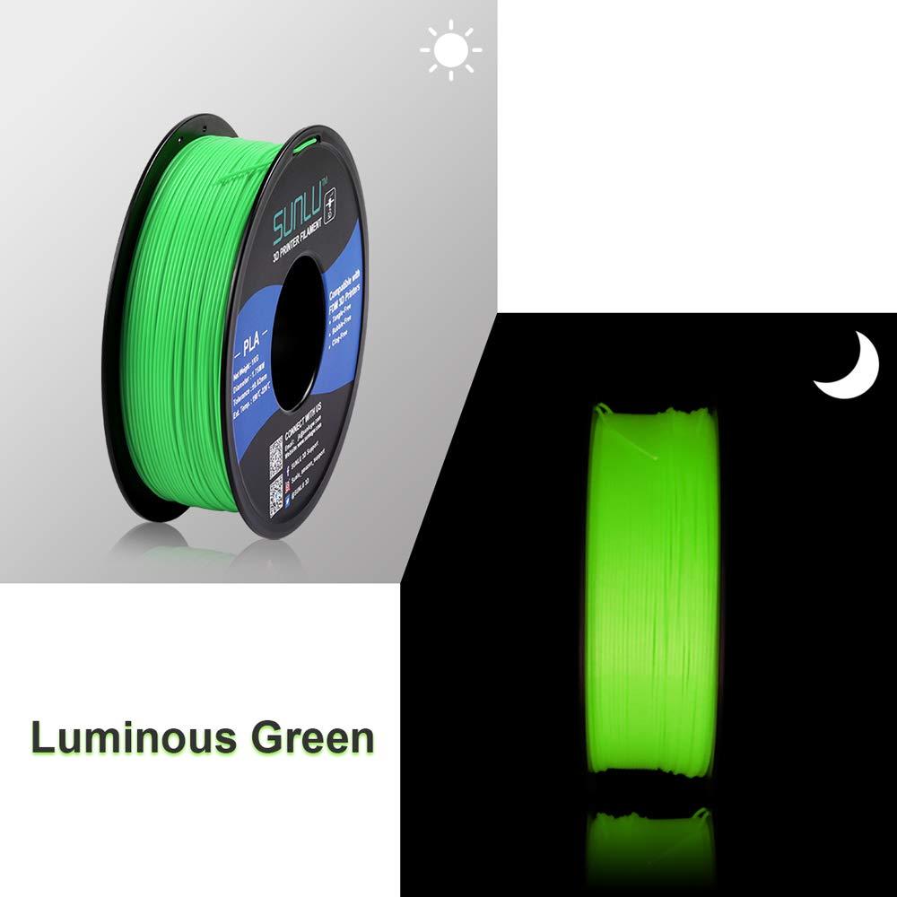 Luminous Green SUNLU Glow in The Dark PLA Filament 1.75 mm 3D Printer Filament Dimensional Accuracy +//- 0.02 mm for 3D Printer and 3D Pen 1kg Spool 3D Printing Filament