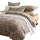 Brandream Super Soft Egyptian Cotton Bedding Sets with Button Closure 3PC Duvet Cover Set-Includes Quilt Cover and Two Pillow Shams Chic Paisley Regal Themed Design Queen