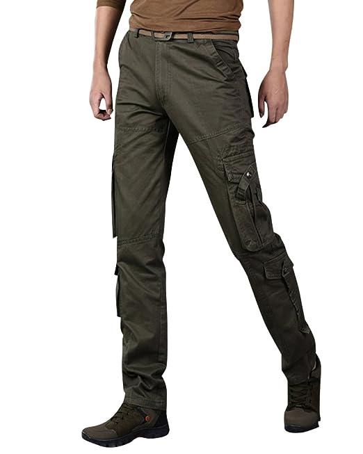 72cf14ded28 Anyu Hombre Pantalones Cargo Multi Bolsillos Pantalone Recto Pantalón  Militares  Amazon.es  Ropa y accesorios