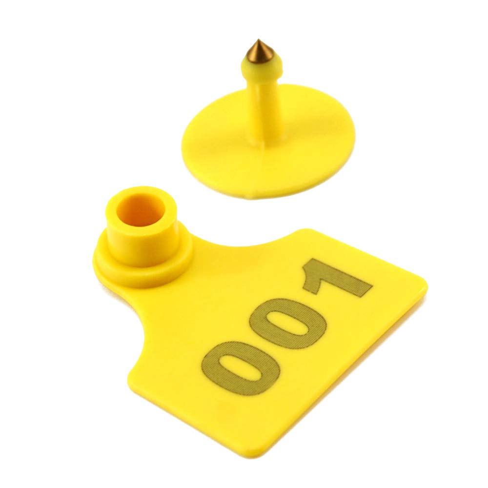 Livestock Identification Numbered Plastic Ear Tags for Calves Sheep Cattle Cows Pigs TPU Precision Earring 1000 Sets(Yellow) with 1 pcs Plier Applicator by COCOLELE