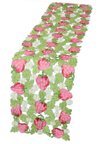 Xia Home Fashions Strawberry Patch Embroidered Cutwork Table Runner Collection, 8 by 63-Inch