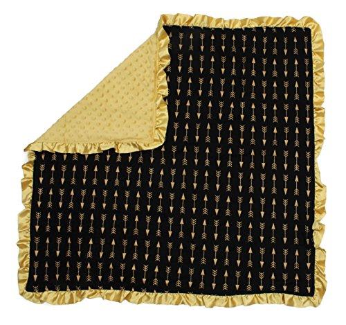 Dear Baby Gear Baby Blankets, Arrows Gold on Black, Gold Minky