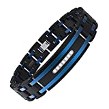 COOLMAN Men's Bracelet Stainless Steel Bracelet Adjustable Bracelet 7.8-8.8 Inches Cubic-Zirconia Inlaid(Blue)