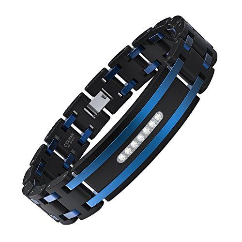 (COOLMAN Men's Bracelet Stainless Steel Bracelet Adjustable Bracelet 7.8-8.8 Inches Cubic-Zirconia)