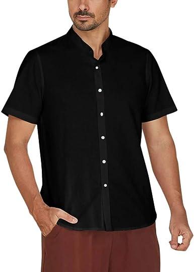 Mens Plain Cotton Short sleeve Shirt Button Down Collar Formal Casual Summer NEW