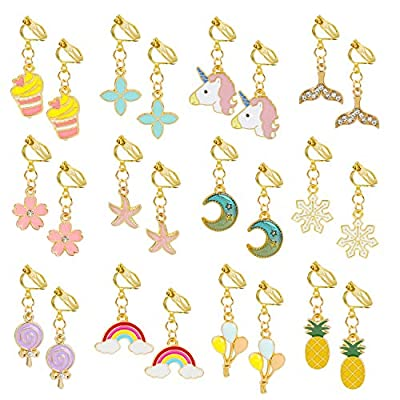 Hifot 12 Pairs Clip on Earrings Dress up Princess Jewelry Accessories for Little Girls Kids Toddler Party Favors Birthdays Day Gift for Pretend Play: Home & Kitchen