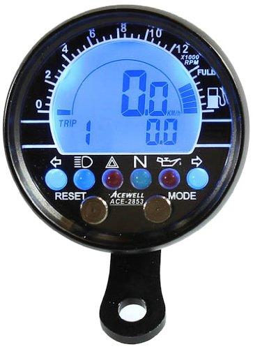 Tachometer und Drehzahlmesser mit Kraftstoffanzeige Alu-Geh/äuse-schwarz Acewell ACE-2853AS